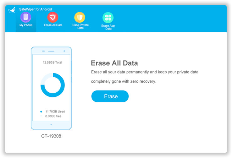 main interface of android data erasing app