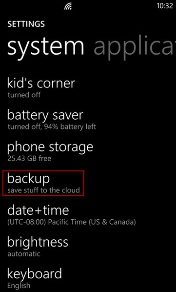 back up your contacts to onedrive