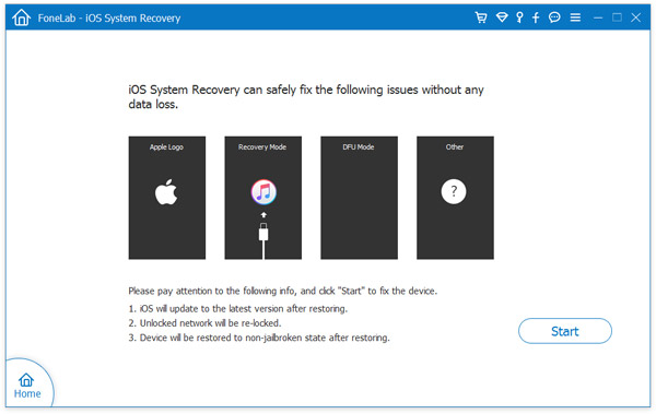 ios system recovery start