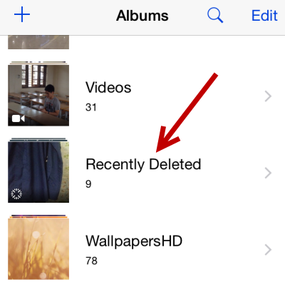 recent deleted videos iphone