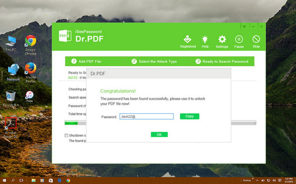 PDF Password Recovery Success