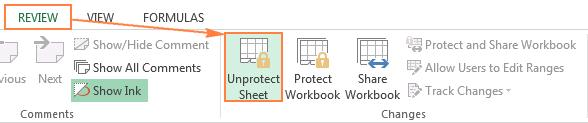 unprotect excel sheet from toolbar