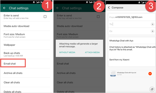 email whatsapp chat on android