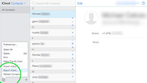 export contacts from icloud