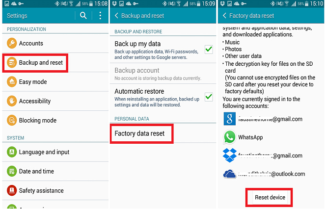 format android device with factory reset