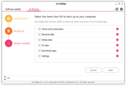 Backup with LG Bridge Software