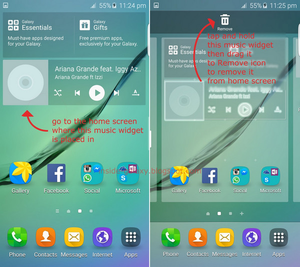remove android widgets from homescreen