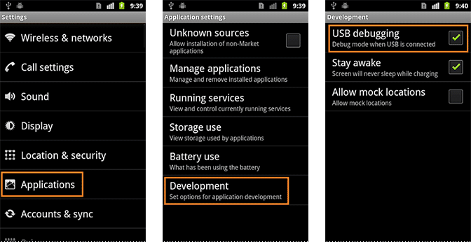 Enable USB Debugging for Android 2.0-2.3.x